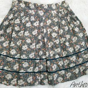 Anthropologie Boho Floral Mini Skirt